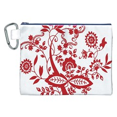 Red Vintage Floral Flowers Decorative Pattern Clipart Canvas Cosmetic Bag (xxl) by Simbadda
