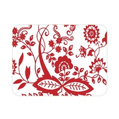 Red Vintage Floral Flowers Decorative Pattern Clipart Double Sided Flano Blanket (mini)  by Simbadda