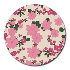 Vintage Floral Wallpaper Background In Shades Of Pink Round Mousepads by Simbadda