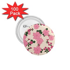 Vintage Floral Wallpaper Background In Shades Of Pink 1 75  Buttons (100 Pack)  by Simbadda