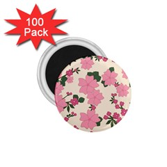 Vintage Floral Wallpaper Background In Shades Of Pink 1 75  Magnets (100 Pack)  by Simbadda