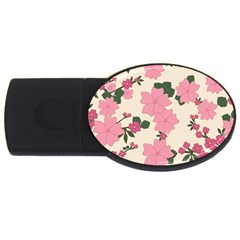 Vintage Floral Wallpaper Background In Shades Of Pink Usb Flash Drive Oval (4 Gb) by Simbadda