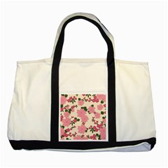 Vintage Floral Wallpaper Background In Shades Of Pink Two Tone Tote Bag by Simbadda