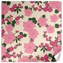 Vintage Floral Wallpaper Background In Shades Of Pink Canvas 16  x 16   by Simbadda