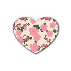 Vintage Floral Wallpaper Background In Shades Of Pink Heart Coaster (4 Pack)  by Simbadda