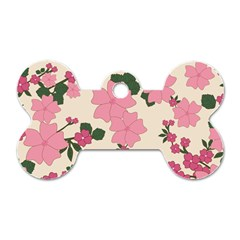 Vintage Floral Wallpaper Background In Shades Of Pink Dog Tag Bone (two Sides) by Simbadda