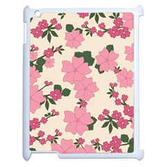 Vintage Floral Wallpaper Background In Shades Of Pink Apple Ipad 2 Case (white) by Simbadda
