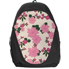 Vintage Floral Wallpaper Background In Shades Of Pink Backpack Bag by Simbadda