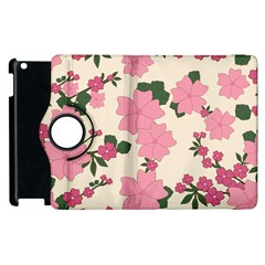 Vintage Floral Wallpaper Background In Shades Of Pink Apple Ipad 3/4 Flip 360 Case by Simbadda