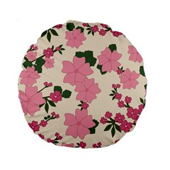 Vintage Floral Wallpaper Background In Shades Of Pink Standard 15  Premium Round Cushions by Simbadda