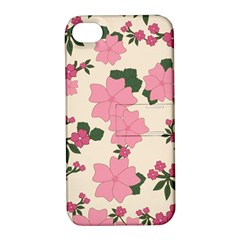 Vintage Floral Wallpaper Background In Shades Of Pink Apple Iphone 4/4s Hardshell Case With Stand by Simbadda