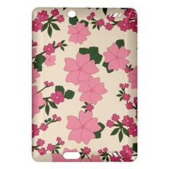 Vintage Floral Wallpaper Background In Shades Of Pink Amazon Kindle Fire Hd (2013) Hardshell Case by Simbadda