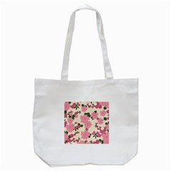Vintage Floral Wallpaper Background In Shades Of Pink Tote Bag (white) by Simbadda