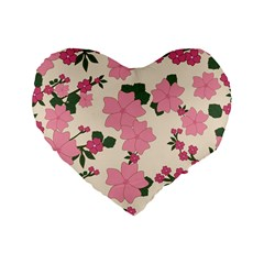 Vintage Floral Wallpaper Background In Shades Of Pink Standard 16  Premium Flano Heart Shape Cushions by Simbadda