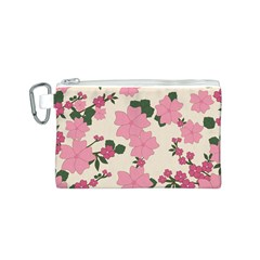 Vintage Floral Wallpaper Background In Shades Of Pink Canvas Cosmetic Bag (s) by Simbadda