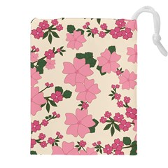 Vintage Floral Wallpaper Background In Shades Of Pink Drawstring Pouches (xxl) by Simbadda