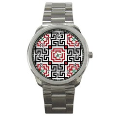 Vintage Style Seamless Black White And Red Tile Pattern Wallpaper Background Sport Metal Watch by Simbadda