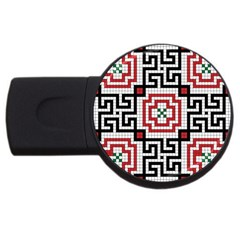 Vintage Style Seamless Black White And Red Tile Pattern Wallpaper Background USB Flash Drive Round (4 GB) by Simbadda