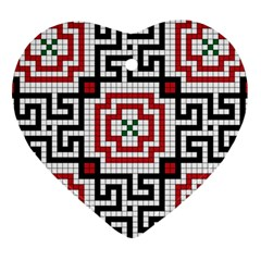 Vintage Style Seamless Black White And Red Tile Pattern Wallpaper Background Heart Ornament (two Sides) by Simbadda