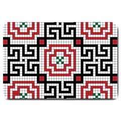 Vintage Style Seamless Black White And Red Tile Pattern Wallpaper Background Large Doormat  by Simbadda