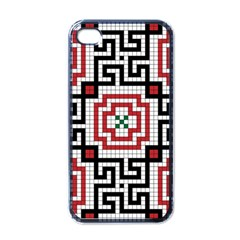 Vintage Style Seamless Black White And Red Tile Pattern Wallpaper Background Apple Iphone 4 Case (black) by Simbadda