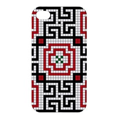 Vintage Style Seamless Black White And Red Tile Pattern Wallpaper Background Apple Iphone 4/4s Premium Hardshell Case by Simbadda