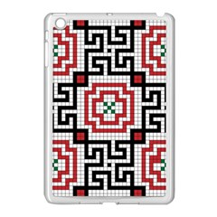 Vintage Style Seamless Black White And Red Tile Pattern Wallpaper Background Apple Ipad Mini Case (white)