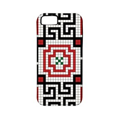 Vintage Style Seamless Black White And Red Tile Pattern Wallpaper Background Apple Iphone 5 Classic Hardshell Case (pc+silicone) by Simbadda