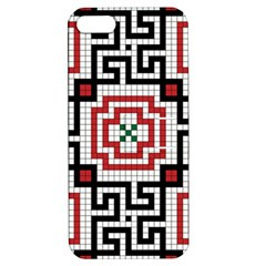 Vintage Style Seamless Black White And Red Tile Pattern Wallpaper Background Apple Iphone 5 Hardshell Case With Stand by Simbadda