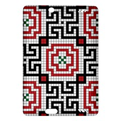 Vintage Style Seamless Black White And Red Tile Pattern Wallpaper Background Amazon Kindle Fire Hd (2013) Hardshell Case by Simbadda