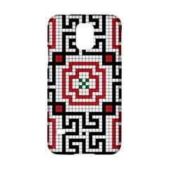 Vintage Style Seamless Black White And Red Tile Pattern Wallpaper Background Samsung Galaxy S5 Hardshell Case  by Simbadda