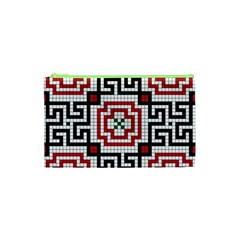 Vintage Style Seamless Black White And Red Tile Pattern Wallpaper Background Cosmetic Bag (xs) by Simbadda