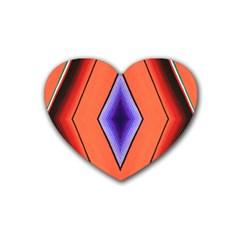 Diamond Shape Lines & Pattern Rubber Coaster (heart)  by Simbadda