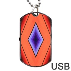 Diamond Shape Lines & Pattern Dog Tag Usb Flash (two Sides) by Simbadda