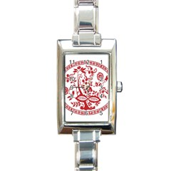 Red Vintage Floral Flowers Decorative Pattern Rectangle Italian Charm Watch by Simbadda
