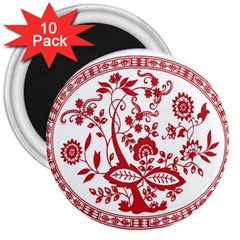 Red Vintage Floral Flowers Decorative Pattern 3  Magnets (10 Pack)  by Simbadda