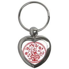 Red Vintage Floral Flowers Decorative Pattern Key Chains (heart)  by Simbadda