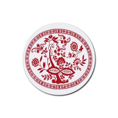 Red Vintage Floral Flowers Decorative Pattern Rubber Round Coaster (4 Pack)  by Simbadda