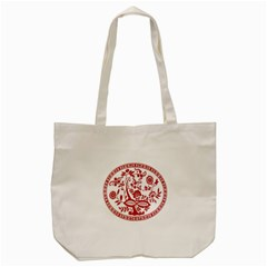 Red Vintage Floral Flowers Decorative Pattern Tote Bag (cream) by Simbadda