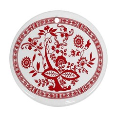 Red Vintage Floral Flowers Decorative Pattern Round Ornament (two Sides) by Simbadda