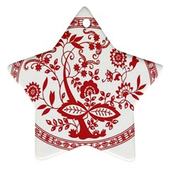 Red Vintage Floral Flowers Decorative Pattern Star Ornament (two Sides) by Simbadda