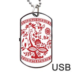 Red Vintage Floral Flowers Decorative Pattern Dog Tag Usb Flash (one Side) by Simbadda