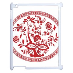 Red Vintage Floral Flowers Decorative Pattern Apple Ipad 2 Case (white) by Simbadda
