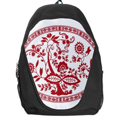 Red Vintage Floral Flowers Decorative Pattern Backpack Bag by Simbadda