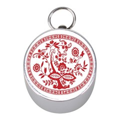 Red Vintage Floral Flowers Decorative Pattern Mini Silver Compasses