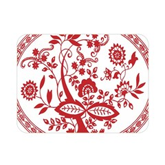 Red Vintage Floral Flowers Decorative Pattern Double Sided Flano Blanket (mini)  by Simbadda