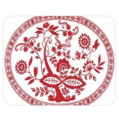 Red Vintage Floral Flowers Decorative Pattern Double Sided Flano Blanket (medium)  by Simbadda