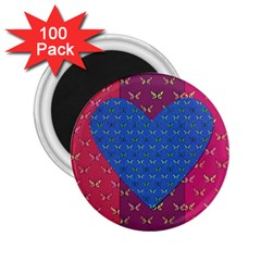 Butterfly Heart Pattern 2 25  Magnets (100 Pack)  by Simbadda