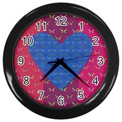 Butterfly Heart Pattern Wall Clocks (black) by Simbadda