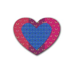 Butterfly Heart Pattern Heart Coaster (4 Pack)  by Simbadda